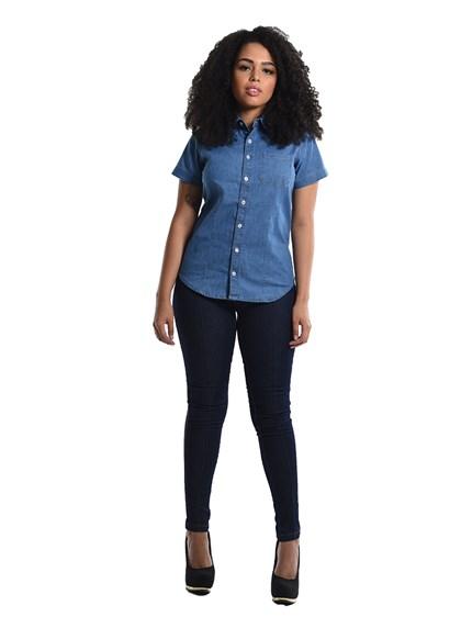 Calça Jeans Skinny com Vies Feminina Azul
