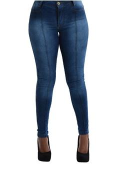 Calça Jeans Skinny com Vies Feminina Azul Claro
