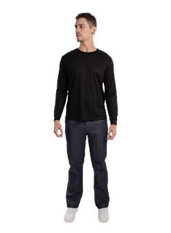 Calça Metade Elástico Jeans  Azul