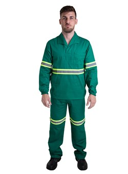 Calça Profissional Metade Elástico e Faixa Refletiva Verde