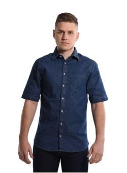 Camisa Jeans com Elastano Manga curta Azul