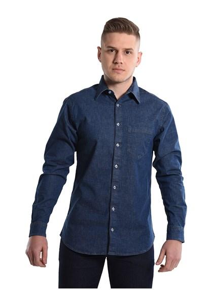 Camisa Jeans Com Elastano Manga longa Azul