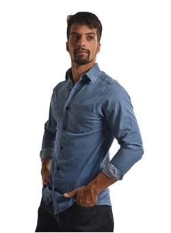 Camisa Jeans Com Elastano Manga longa Azul Plácido
