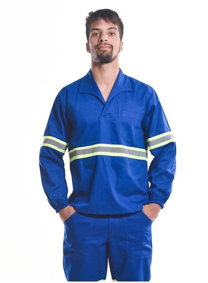 Camisa Profissional Fechado C/Elástico Nos Punhos e Faixa Refletiva Azul Royal