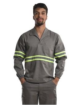 Camisa Profissional Fechado C/Elástico Nos Punhos e Faixa Refletiva Cinza