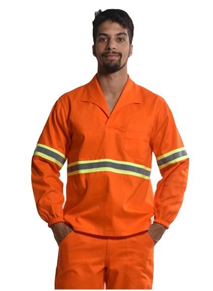 Camisa Profissional Fechado C/Elástico Nos Punhos e Faixa Refletiva Laranja