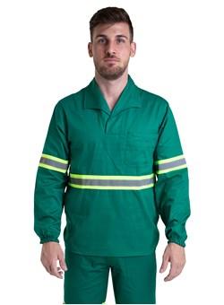Camisa Profissional Fechado C/Elástico Nos Punhos Gola Italiana e Faixa Refletiva Verde