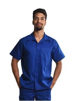 Camisa Profissional Mangas Curtas C/Botões Azul Royal