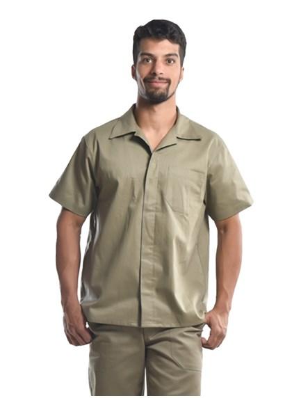 Camisa Profissional Mangas Curtas C/Botões Caqui