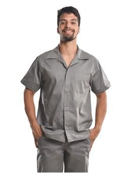 Camisa Profissional Mangas Curtas C/Botões Cinza