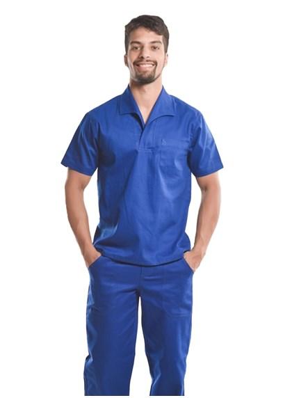 Camisa Profissional Mangas Curtas Com Gola Italiana Azul Royal