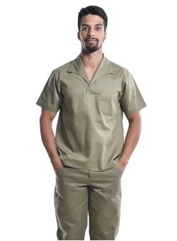 Camisa Profissional Mangas Curtas Com Gola Italiana Caqui