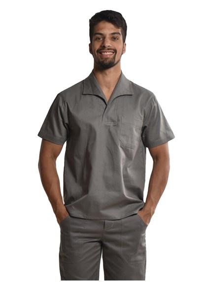 Camisa Profissional Mangas Curtas Com Gola Italiana Cinza