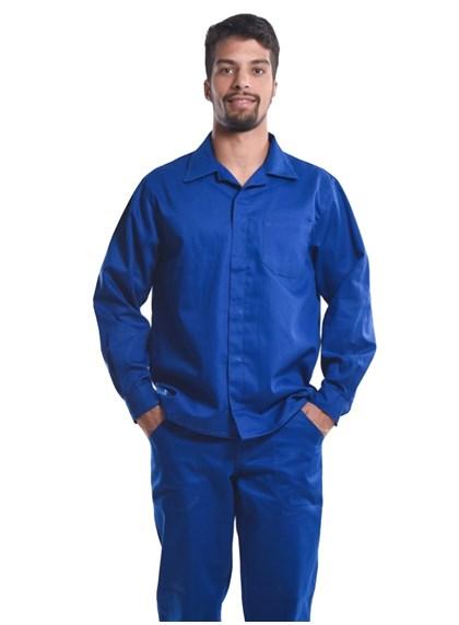 Camisa Profissional Mangas Longas C/Botões Azul Royal