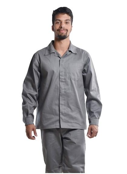 Camisa Profissional Mangas Longas C/Botões Cinza