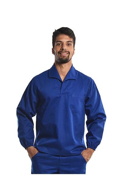 Camisa Profissional Mangas Longas Gola Italiana C/Elástico Nos Punhos Azul Royal