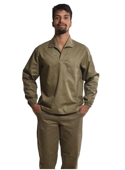 Camisa Profissional Mangas Longas Gola Italiana C/Elástico Nos Punhos Caqui