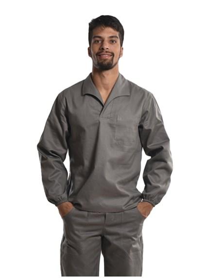Camisa Profissional Mangas Longas Gola Italiana C/Elástico Nos Punhos Cinza