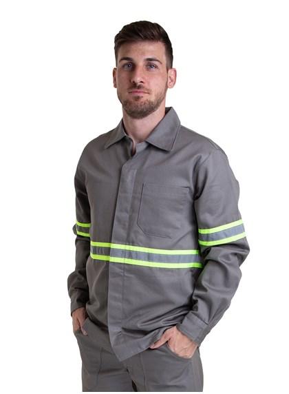 Camisa Profissional Modelo Aberto Manga Longa com Faixa Refletiva e Sitel Neon Cinza