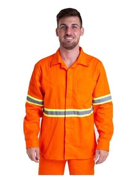 Camisa Profissional Modelo Aberto Manga Longa com Faixa Refletiva e Sitel Neon Laranja