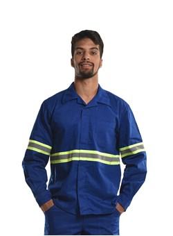 Camisa Profissional Modelo Aberto Manga Longa com Faixa Refletiva e Sitel Neon Royal