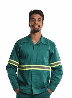 Camisa Profissional Modelo Aberto Manga Longa com Faixa Refletiva e Sitel Neon Verde