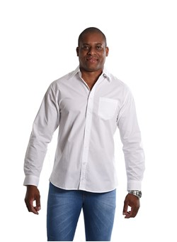 Camisa Social Off White Manga Longa Branco