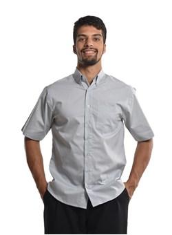 Camisa Social Sky Work Curta na Cor Cinza