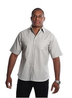 Camisa Social Unioffice Manga Curta Cinza