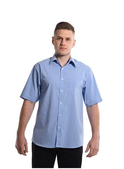 Camisa Tricoline Manga Curta Azul Plácido