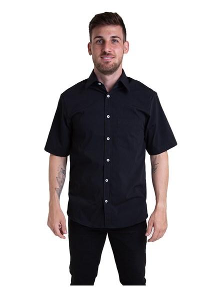 Camisa Tricoline Manga Curta Preto