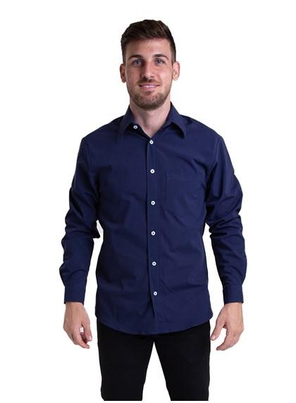 Camisa Tricoline Manga Longa Azul Noite