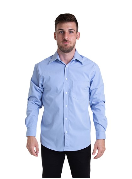 Camisa Tricoline Manga Longa Azul Plácido