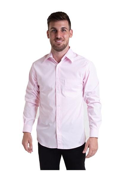 Camisa Tricoline Manga Longa Rosa Bebê