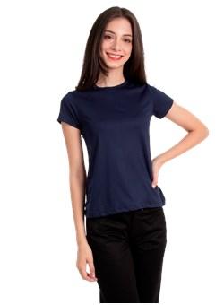 Camiseta Baby Look Básica Gola Redonda Azul Marinho