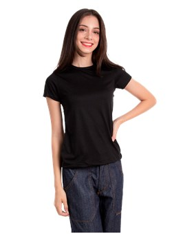 Camiseta Baby Look Básica Gola Redonda Preto