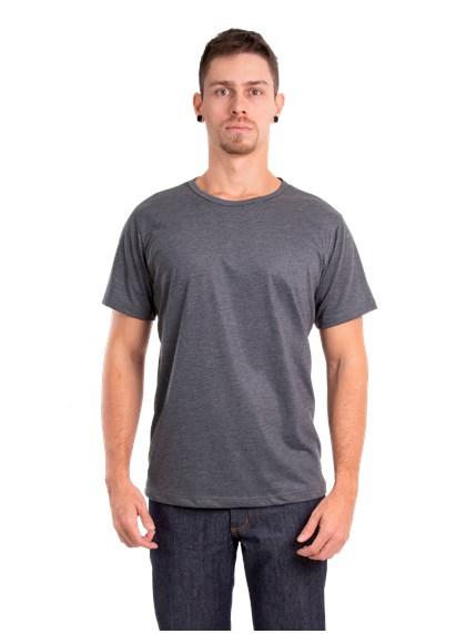 Camiseta Gola Redonda Preto Mescla