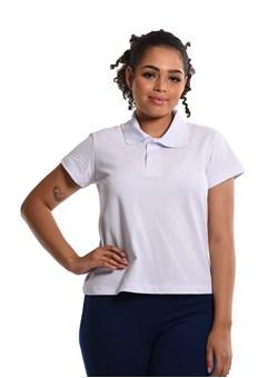 Camiseta Polo Baby-Look Branco