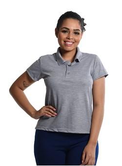 Camiseta Polo Baby-Look Cinza