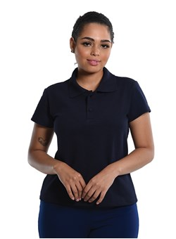 Camiseta Polo Baby-Look Preta