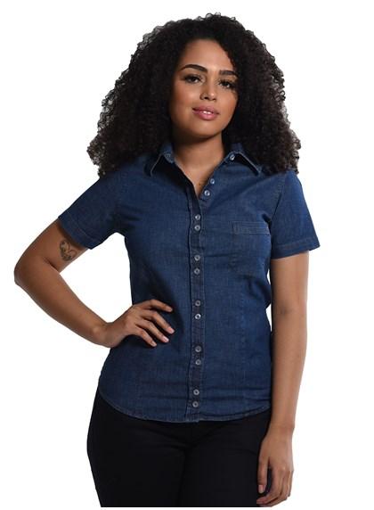 Camisete Jeans com Elastano Manga Curta Azul