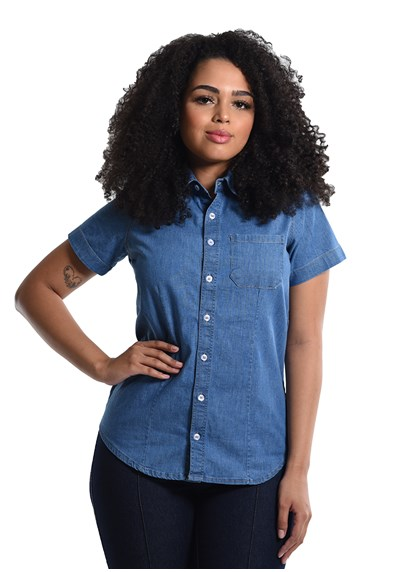 Camisete Jeans com Elastano Manga Curta Azul Plácido