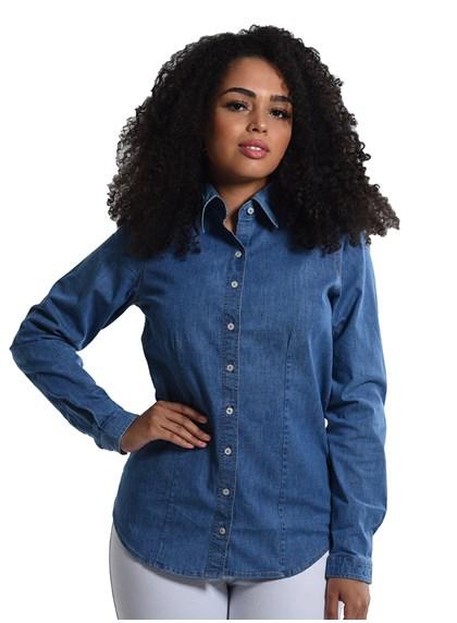 Camisete Jeans Com Elastano Manga Longa Azul Plácido